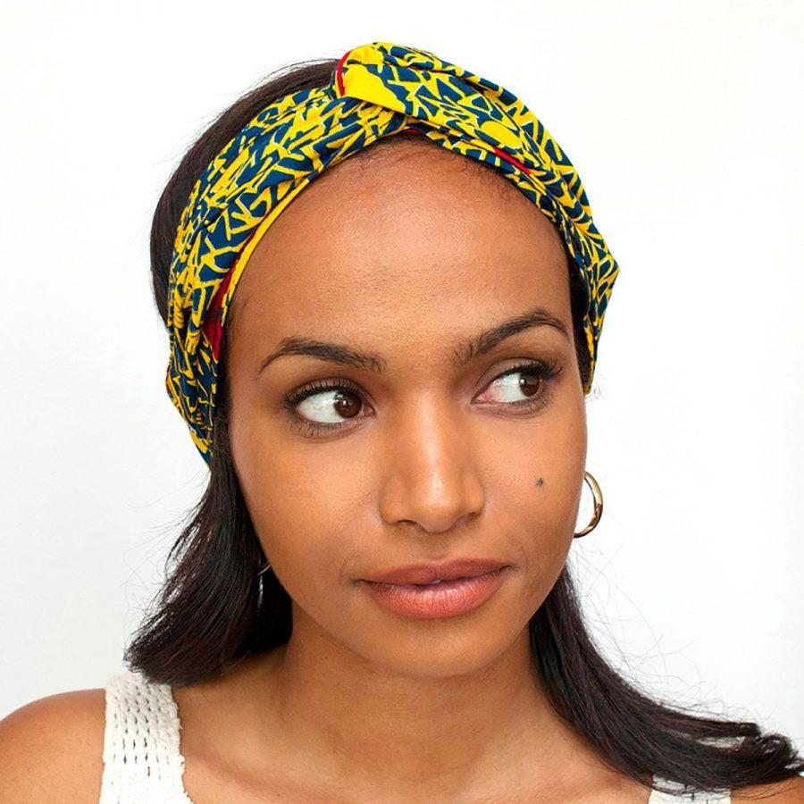 bandana cinta pelo tela africana wax handmade estampada amarillo azul ukat