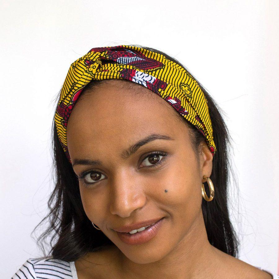 bandana cinta pelo tela africana wax handmade estampada amarillo rojo ukat