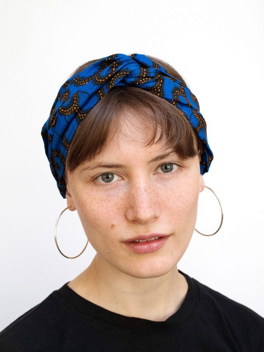 bandana cinta pelo tela africana wax handmade estampada azul electrico ukat