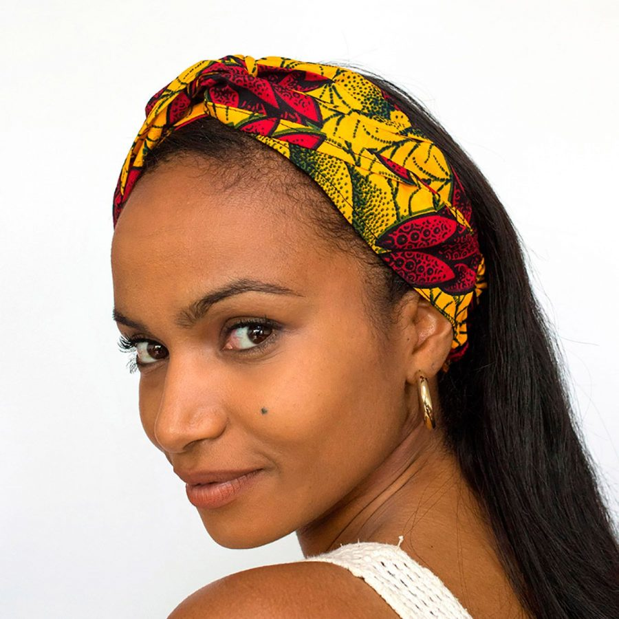 bandana cinta pelo tela africana wax handmade estampada flores amarillo rojo ukat