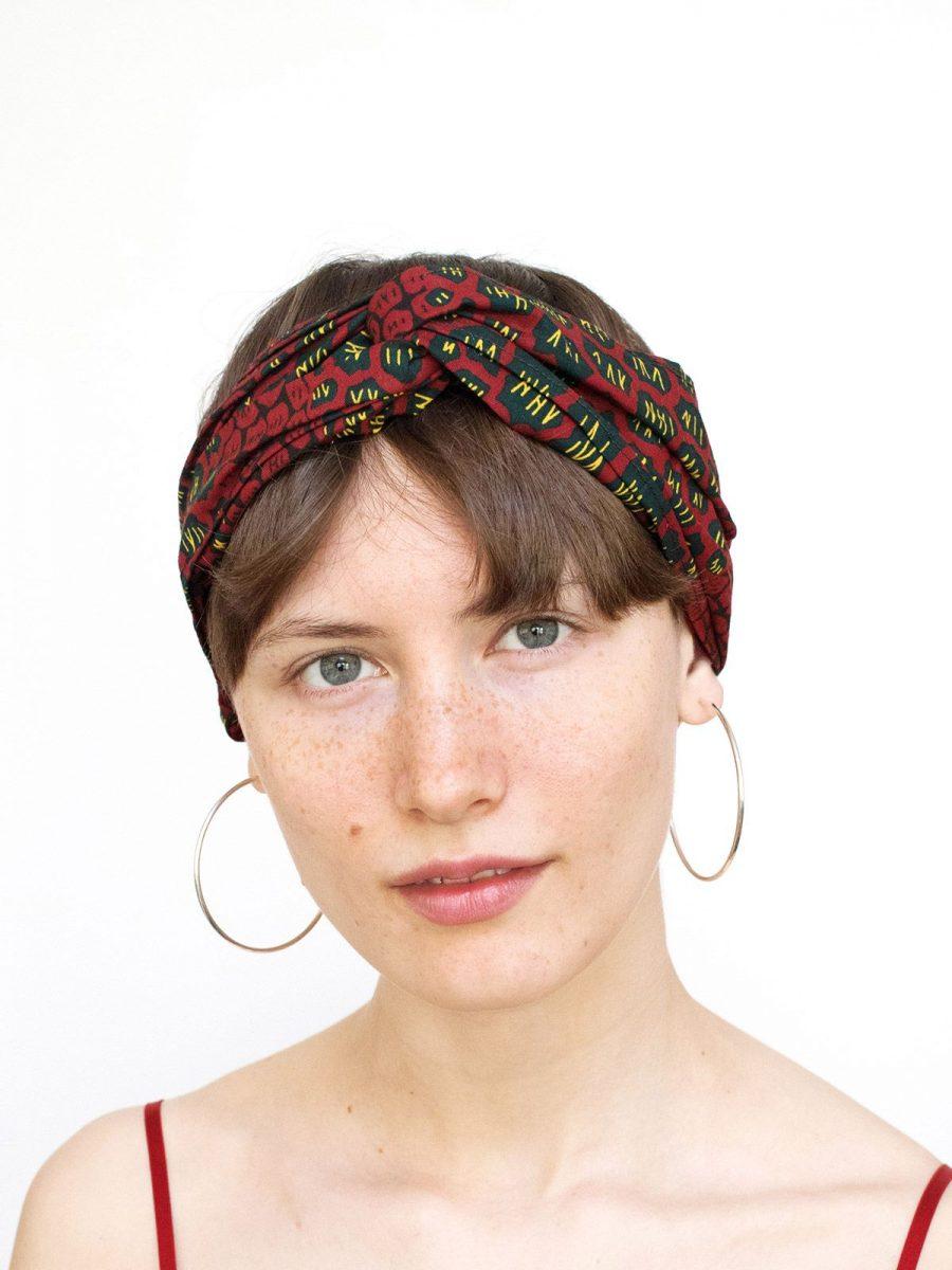 bandana cinta pelo tela africana wax handmade estampada granate oscuro ukat
