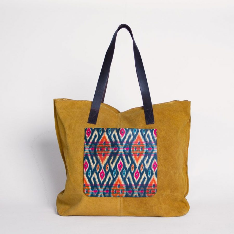 bolso ante amarillo bolsillo rombos africano ukat