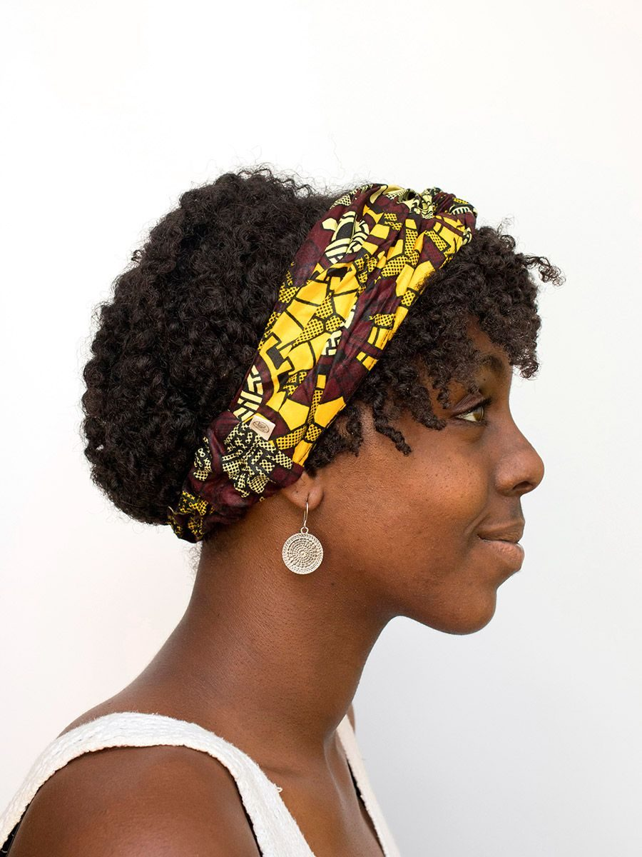 diadema cinta pelo tela africana wax handmade estampada amarilla ukat