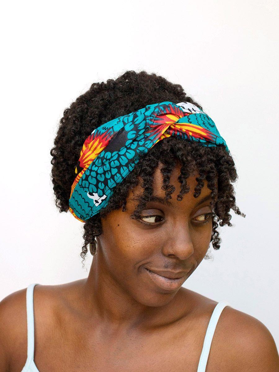 diadema cinta pelo tela africana wax handmade estampada amarillo azul blanco ukat