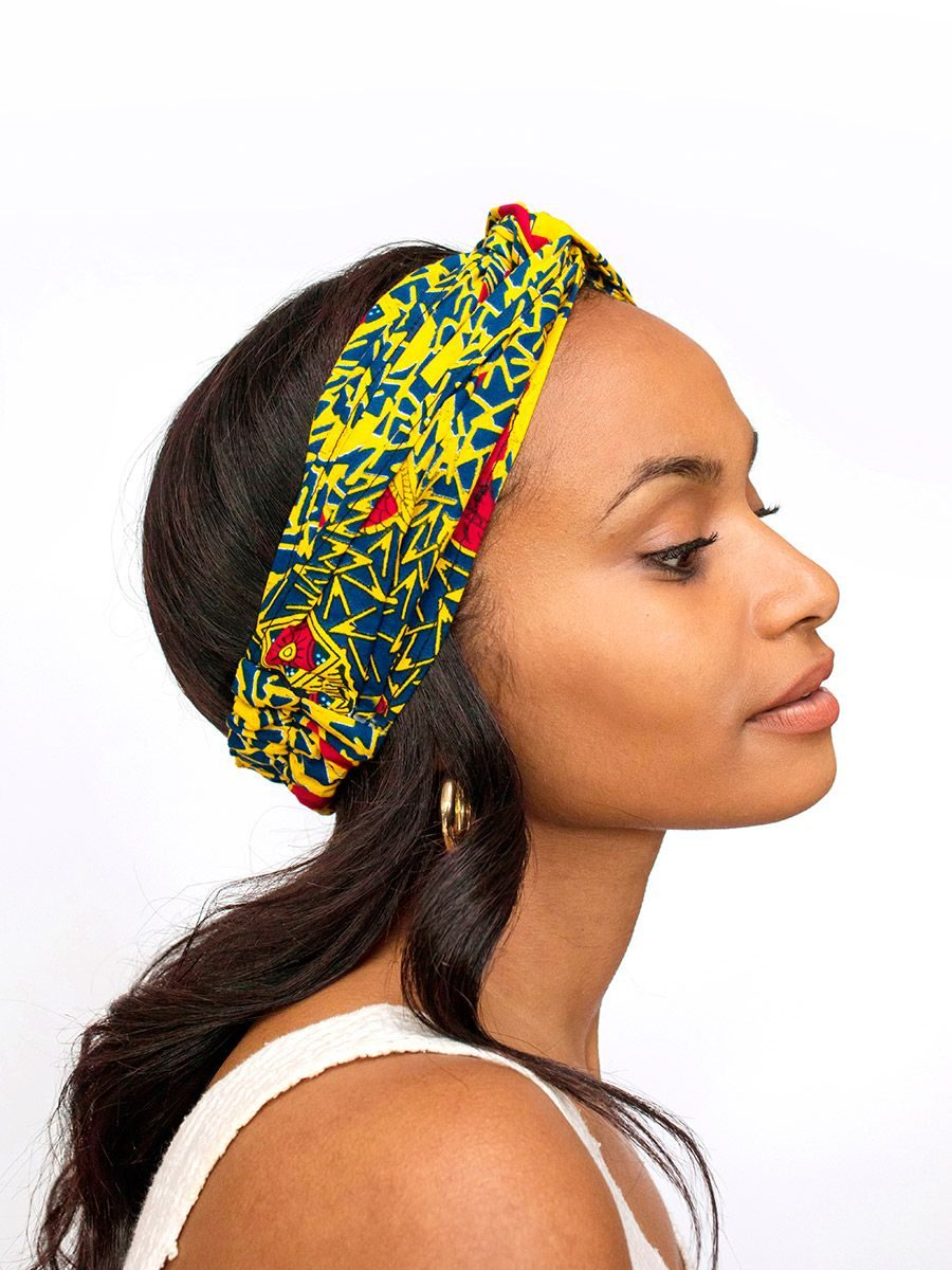 diadema cinta pelo tela africana wax handmade estampada amarillo azul ukat