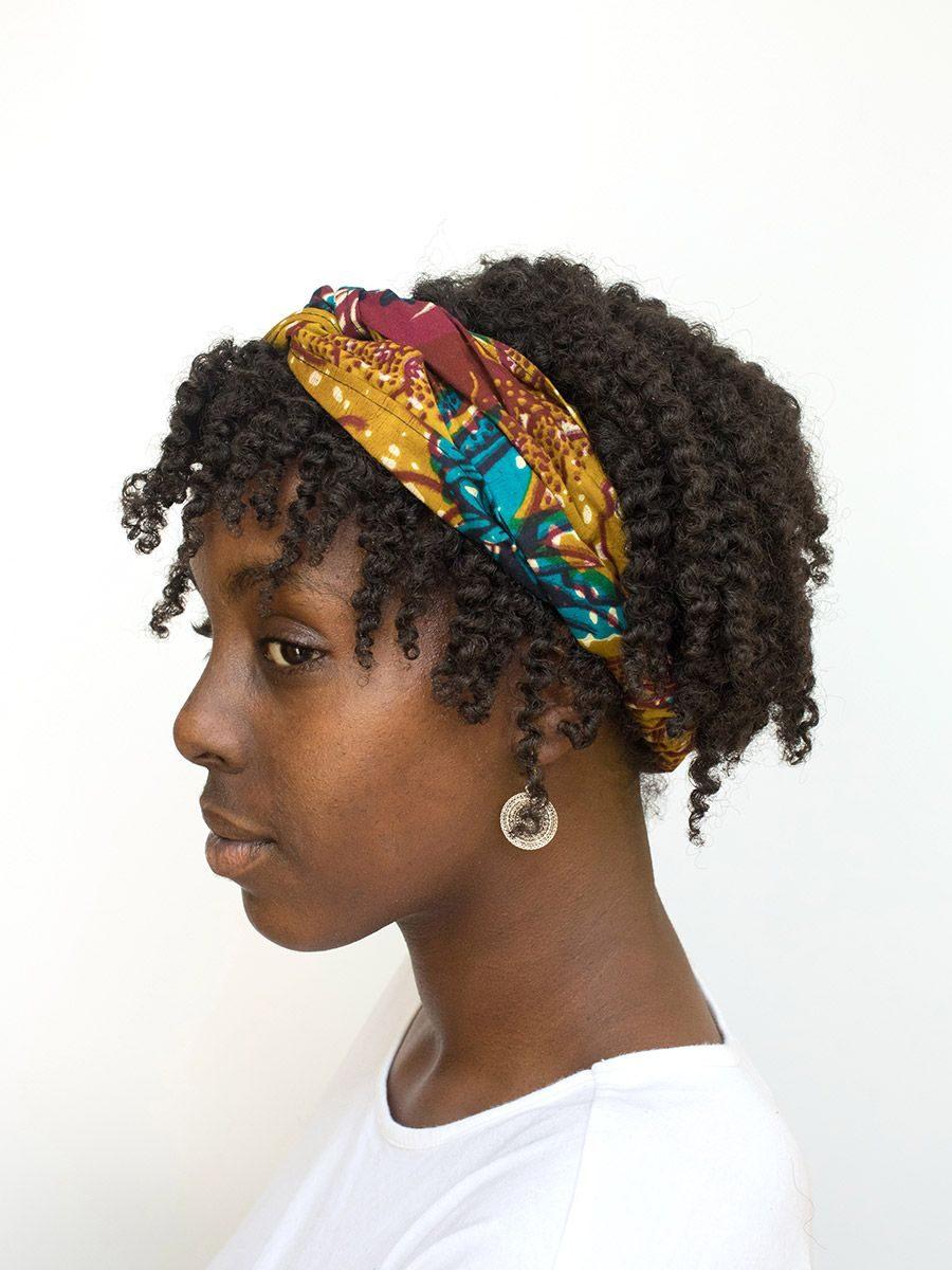 diadema cinta pelo tela africana wax handmade estampada amarillo granate azul ukat