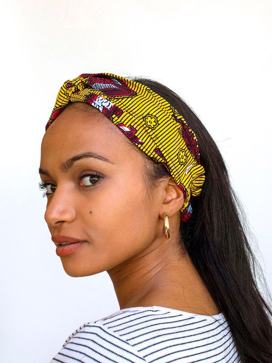 diadema cinta pelo tela africana wax handmade estampada amarillo rojo ukat