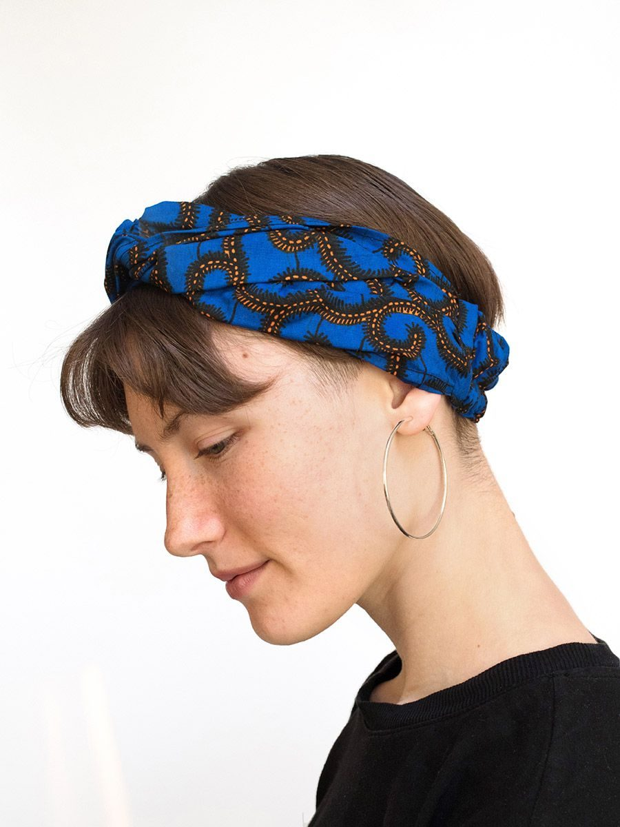 diadema cinta pelo tela africana wax handmade estampada azul electrico ukat
