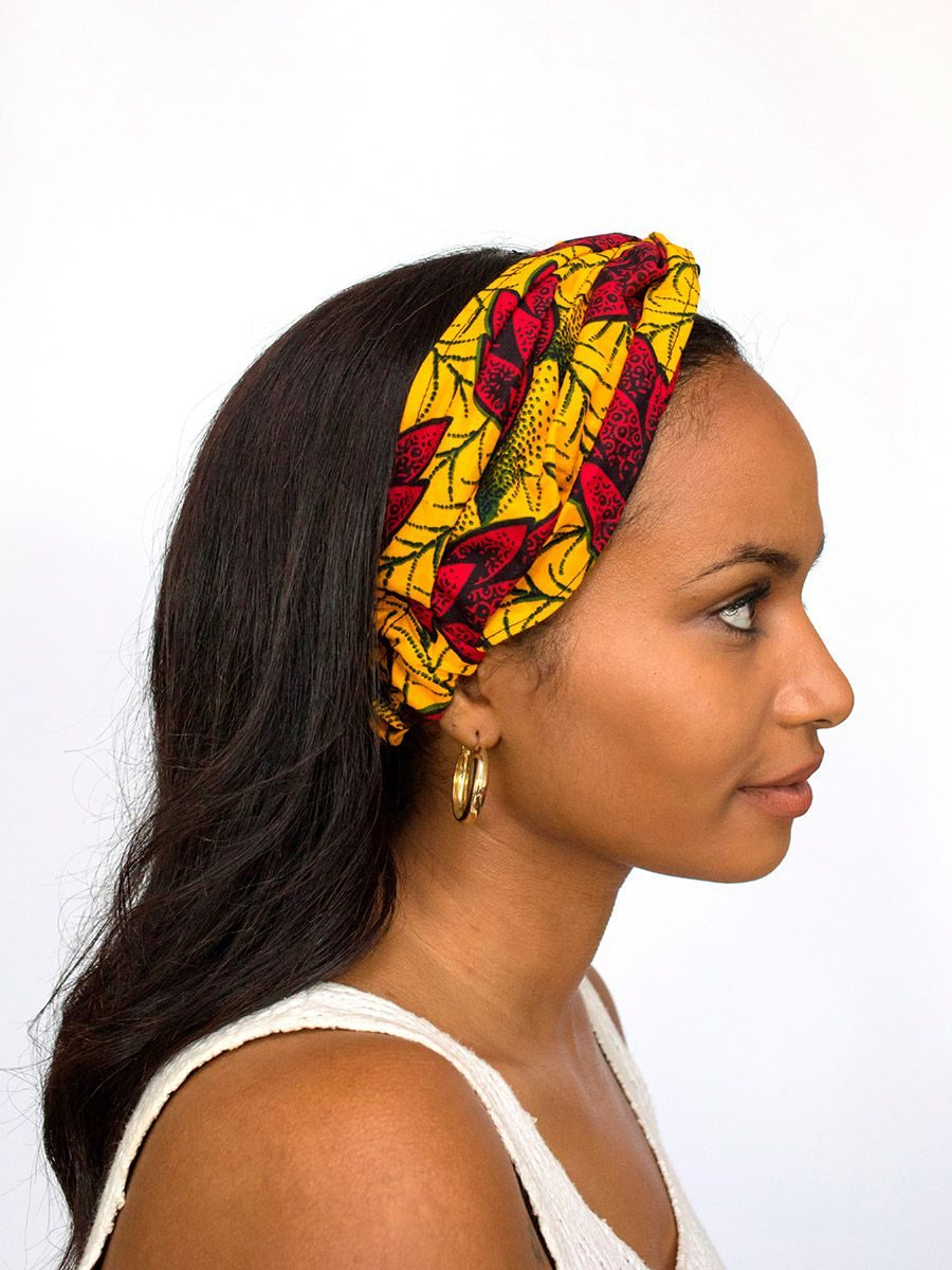 diadema cinta pelo tela africana wax handmade estampada flores amarillo rojo ukat