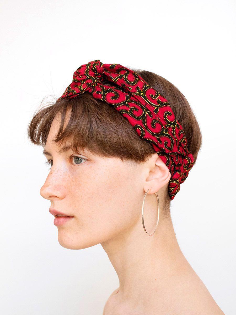 Cinta para el pelo tela africana roja
