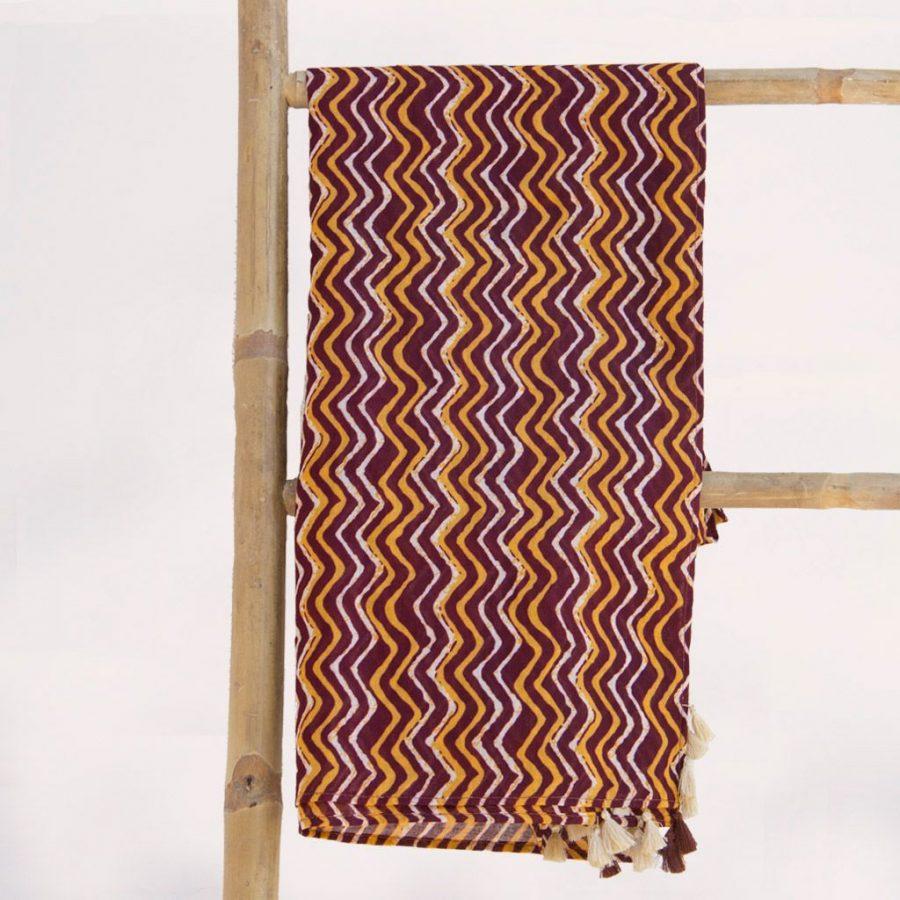 Pareo playa original tela africana pompones marron beix ukat