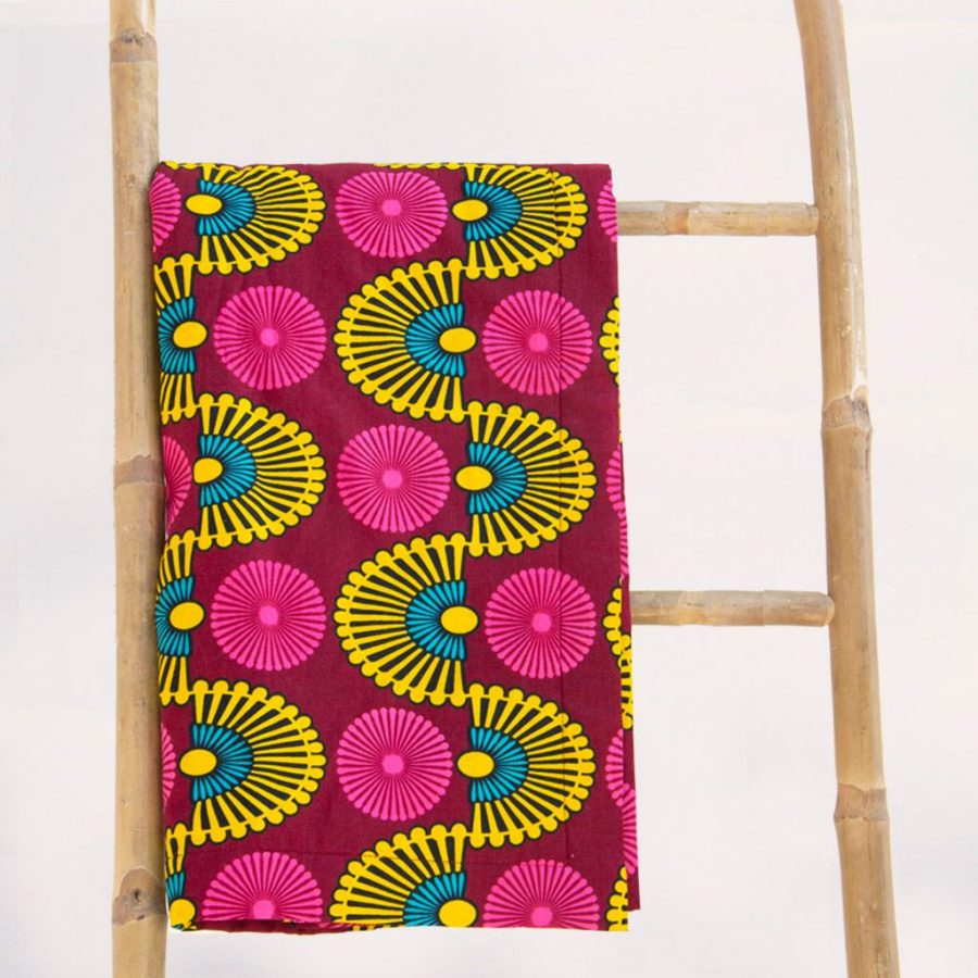 Toalla playa original tela africano estampada amarilla roja ukat