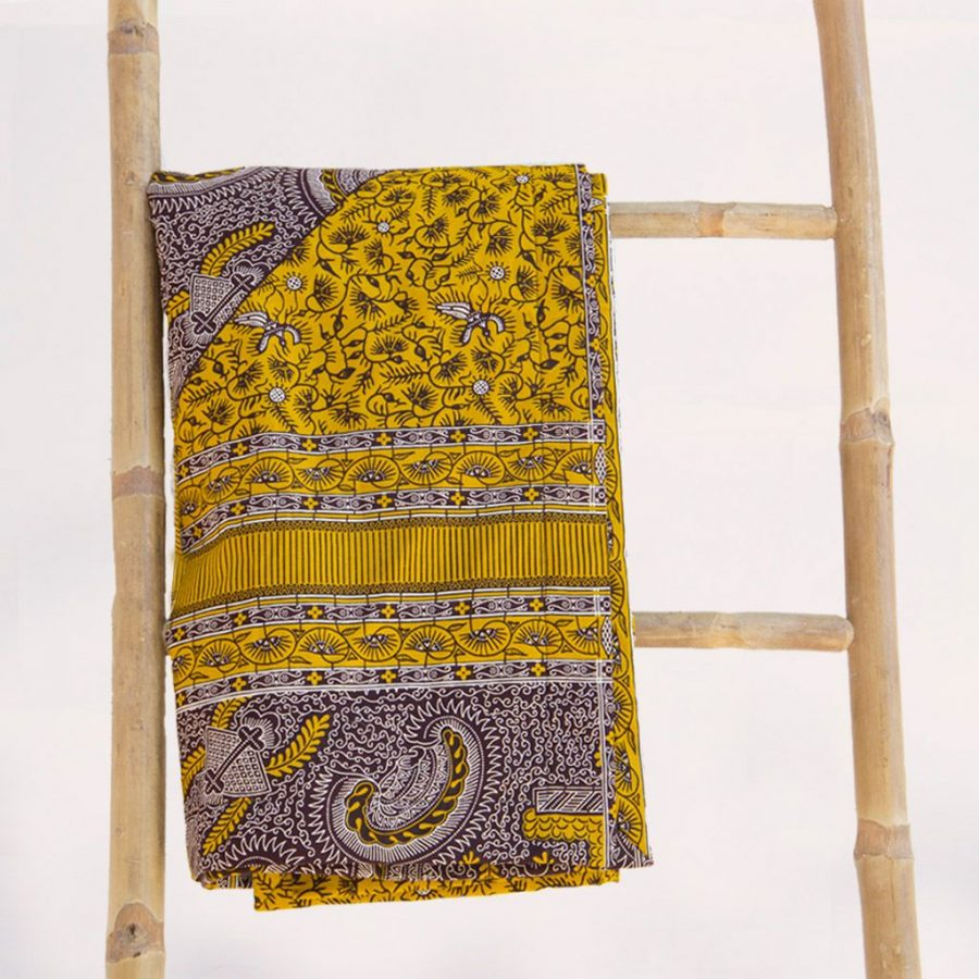 Toalla playa original tela wax etnica amarilla marron ukat