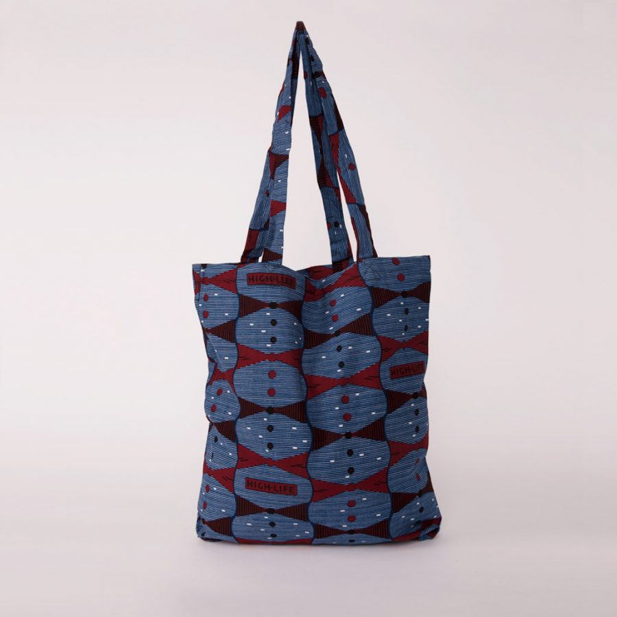 bolsa plegable handmade senegal wax estampada azul