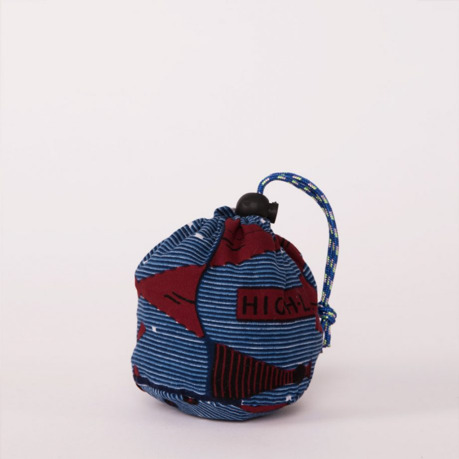 bolsa plegable handmade senegal wax estampada azul