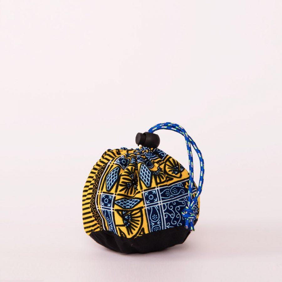 bolsa plegable handmade senegal wax estampada azul amarilla