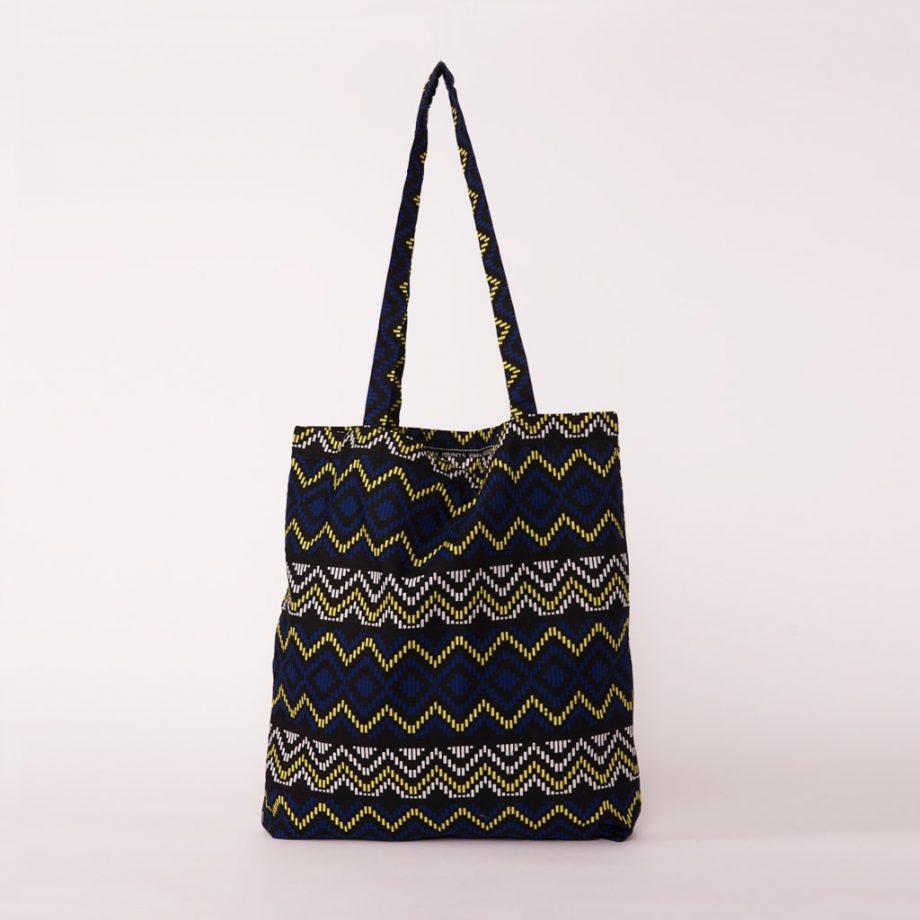 bolsa plegable handmade senegal wax estampada azul oscuro