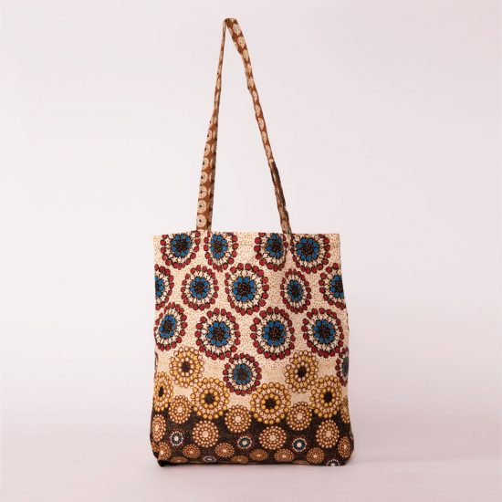 bolsa plegable handmade senegal wax estampada beix marron