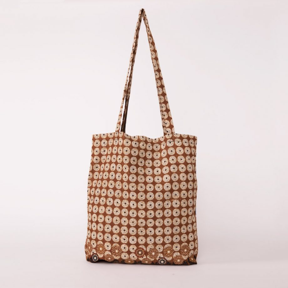 bolsa plegable handmade senegal wax estampada beix marron 2