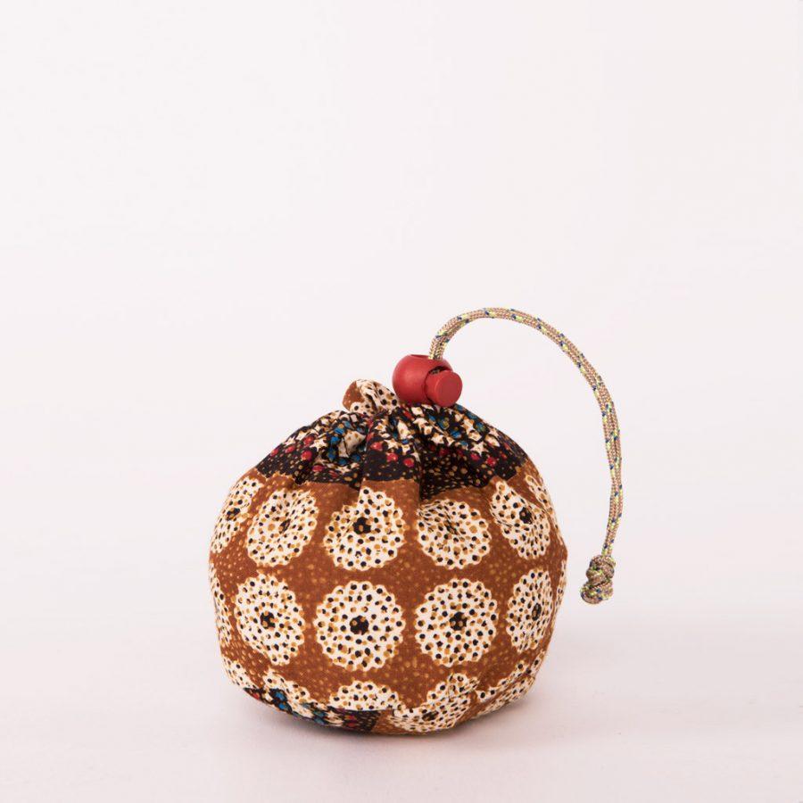 bolsa plegable handmade senegal wax estampada beix marron