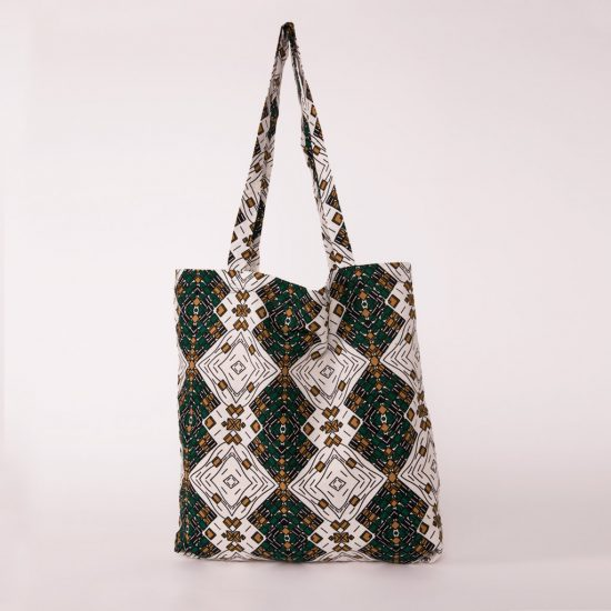 bolsa plegable handmade senegal wax estampada blanca verde botella