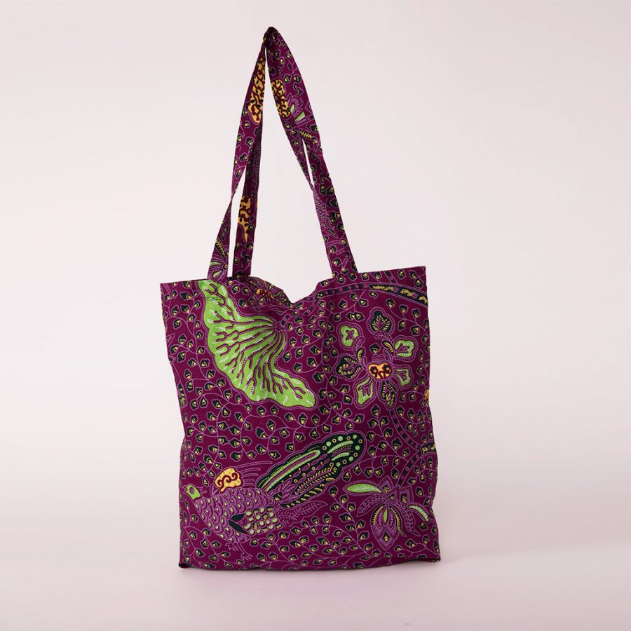 bolsa plegable handmade senegal wax estampada lila