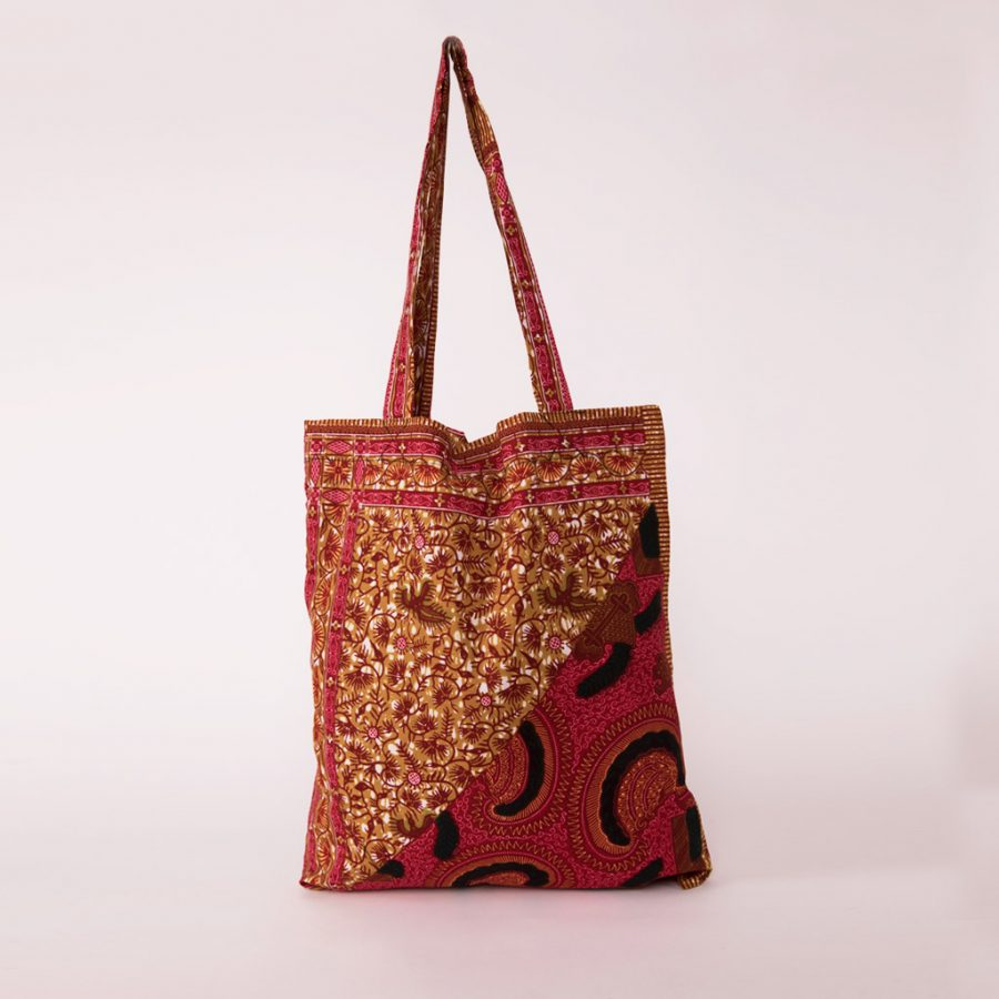 bolsa plegable handmade senegal wax estampada magenta