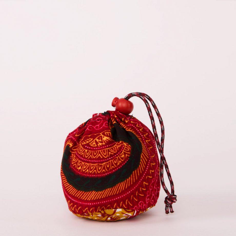 bolsa plegable handmade senegal wax estampada magenta