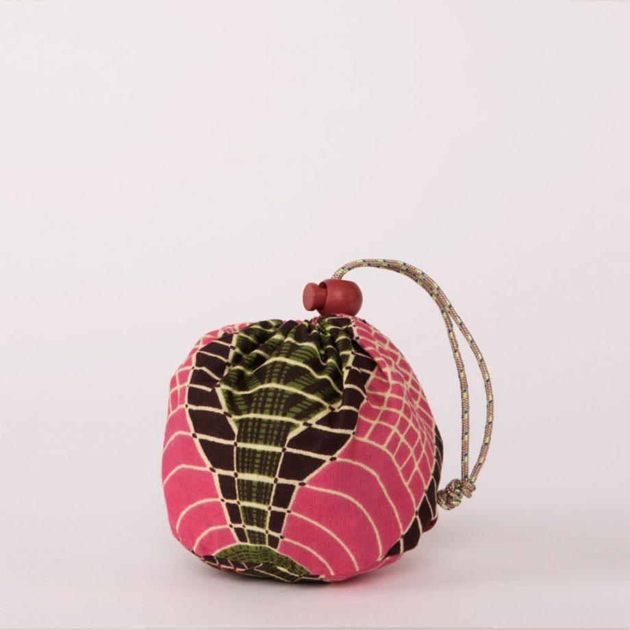 bolsa plegable handmade senegal wax estampada rosa verde