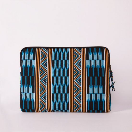 funda portatil handmade senegal wax estampada azul