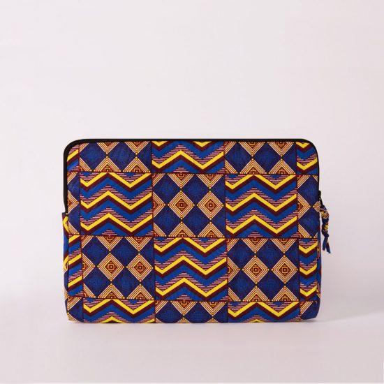 funda portatil handmade senegal wax estampada azul electrico