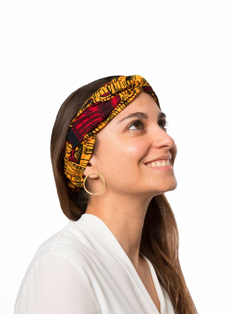 Bandana diadema cinta pelo tela africana wax handmade estampada amarilla corazones ukat