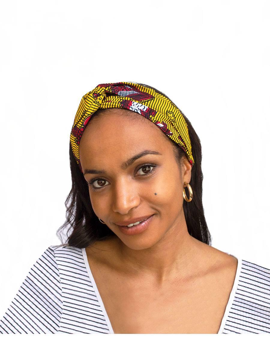 Bandana diadema cinta pelo tela africana wax handmade estampada amarilla dragones ukat