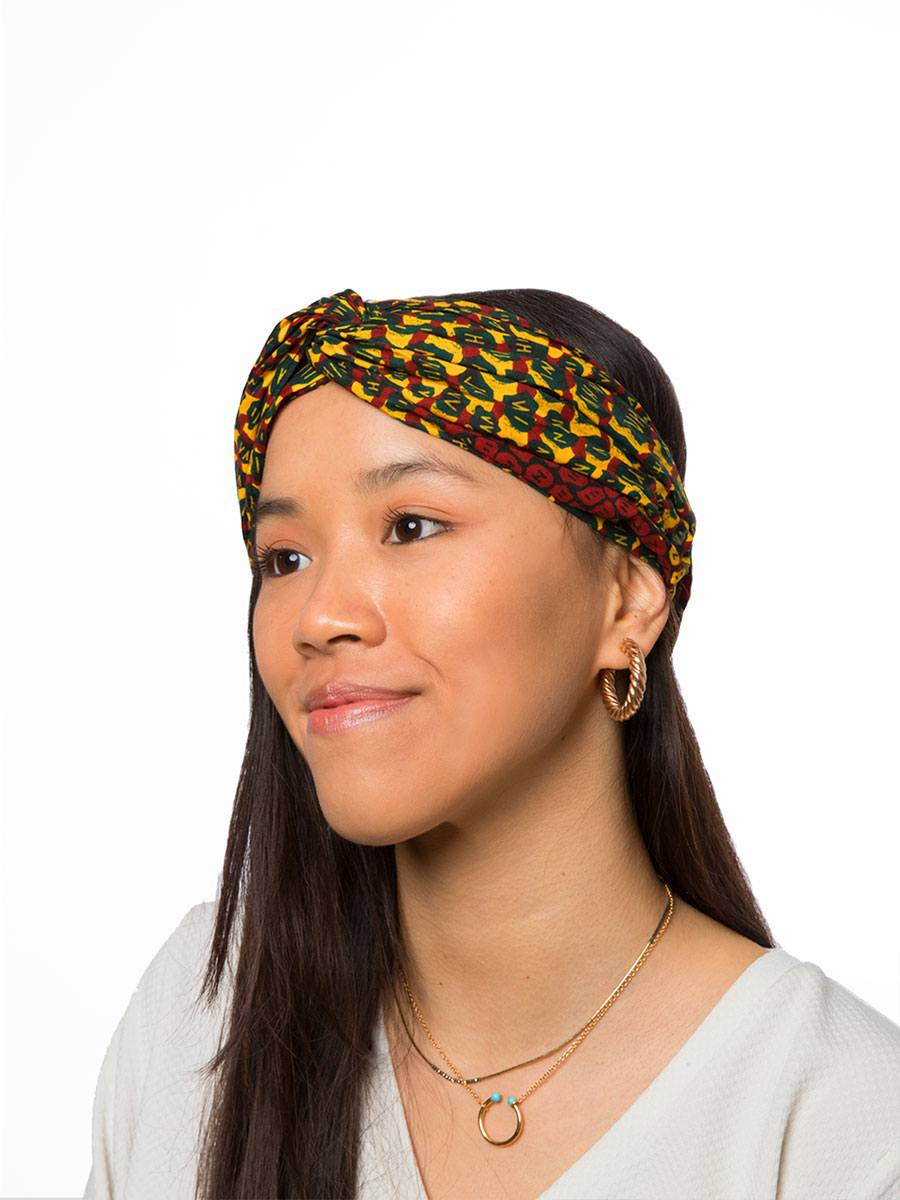 Bandana diadema cinta pelo tela africana wax handmade estampada amarilla granate ukat