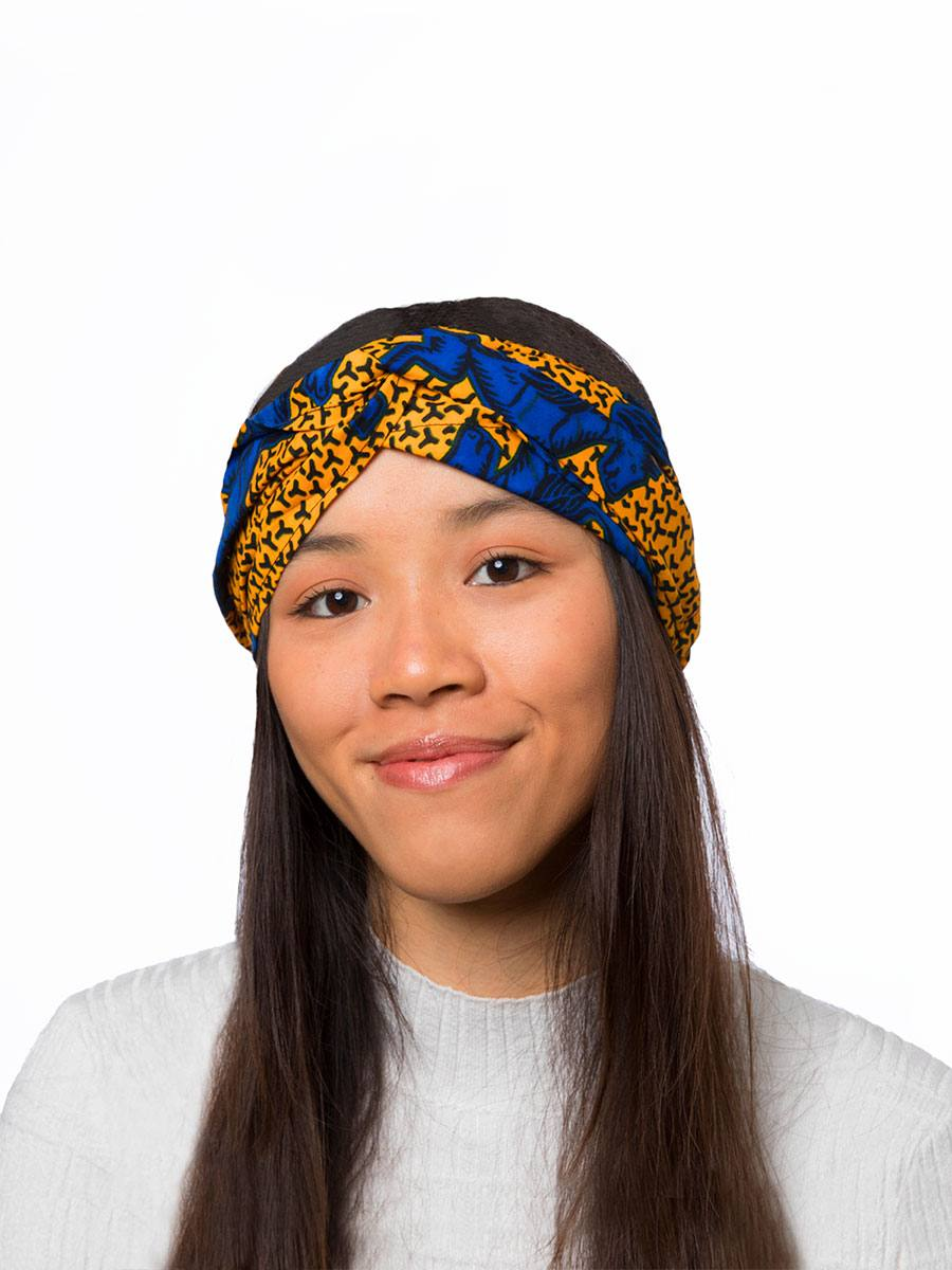 Bandana diadema cinta pelo tela africana wax handmade estampada azul amarilla ukat