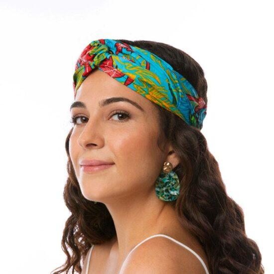 Bandana diadema cinta pelo tela africana wax handmade estampada azul claro ukat
