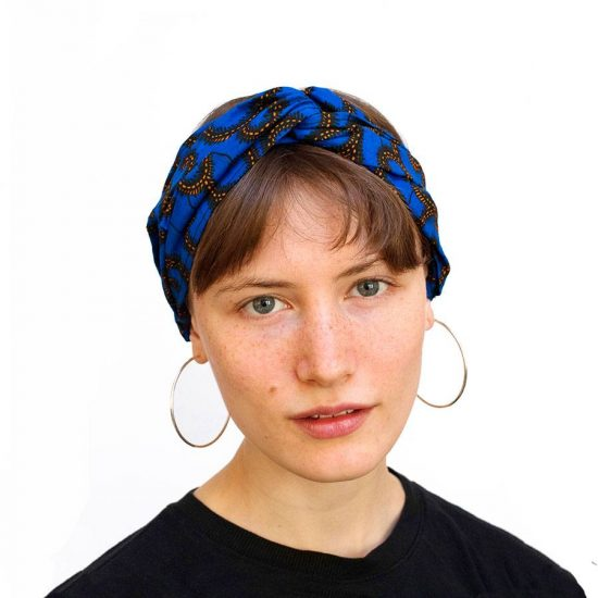 Bandana diadema cinta pelo tela africana wax handmade estampada azul electrico ukat