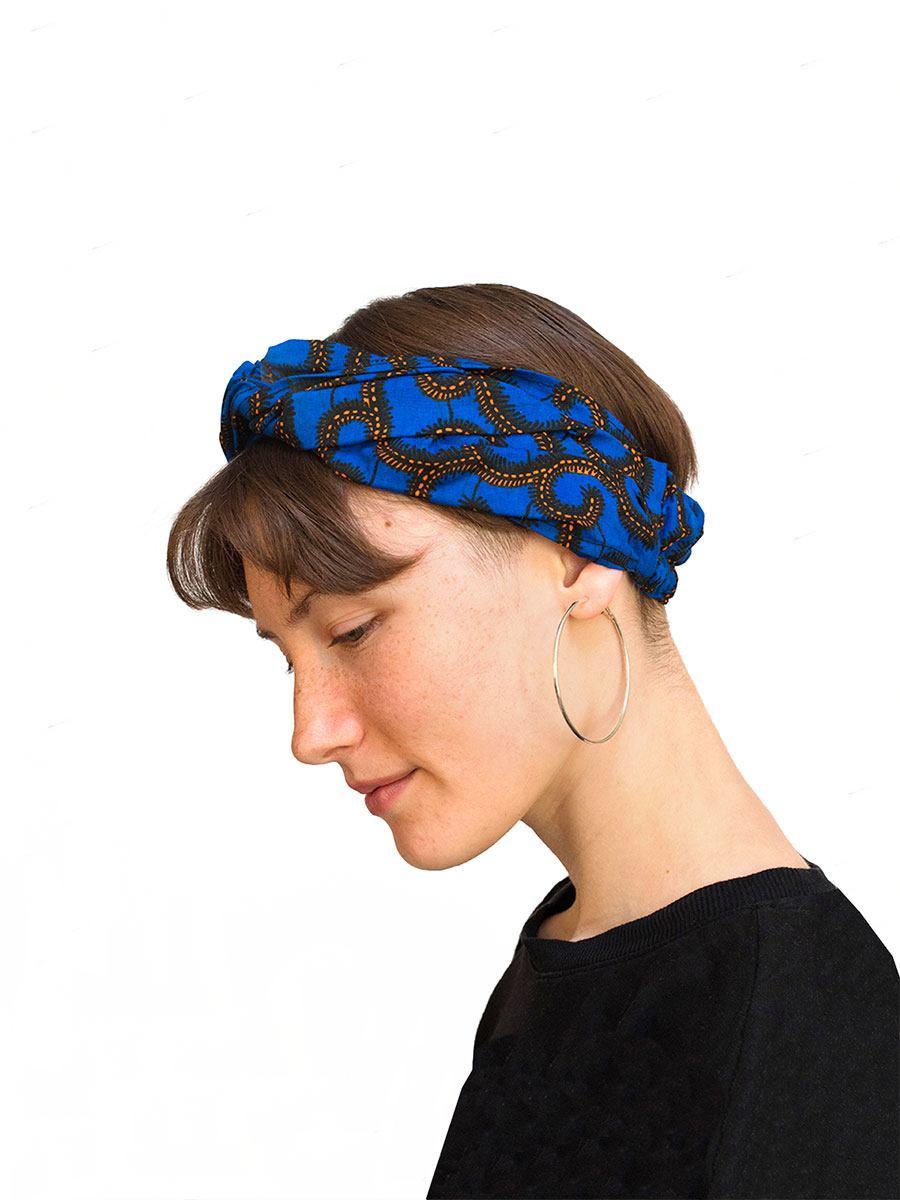 Bandana diadema cinta pelo tela africana wax handmade estampada azul electrico ukat.