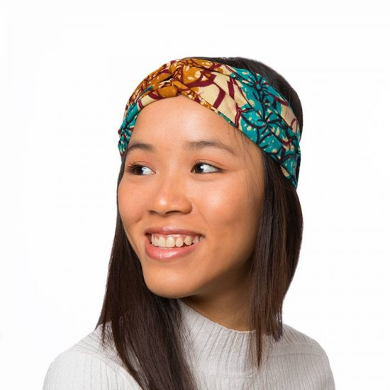 Bandana diadema cinta pelo tela africana wax handmade estampada beix azul ukat