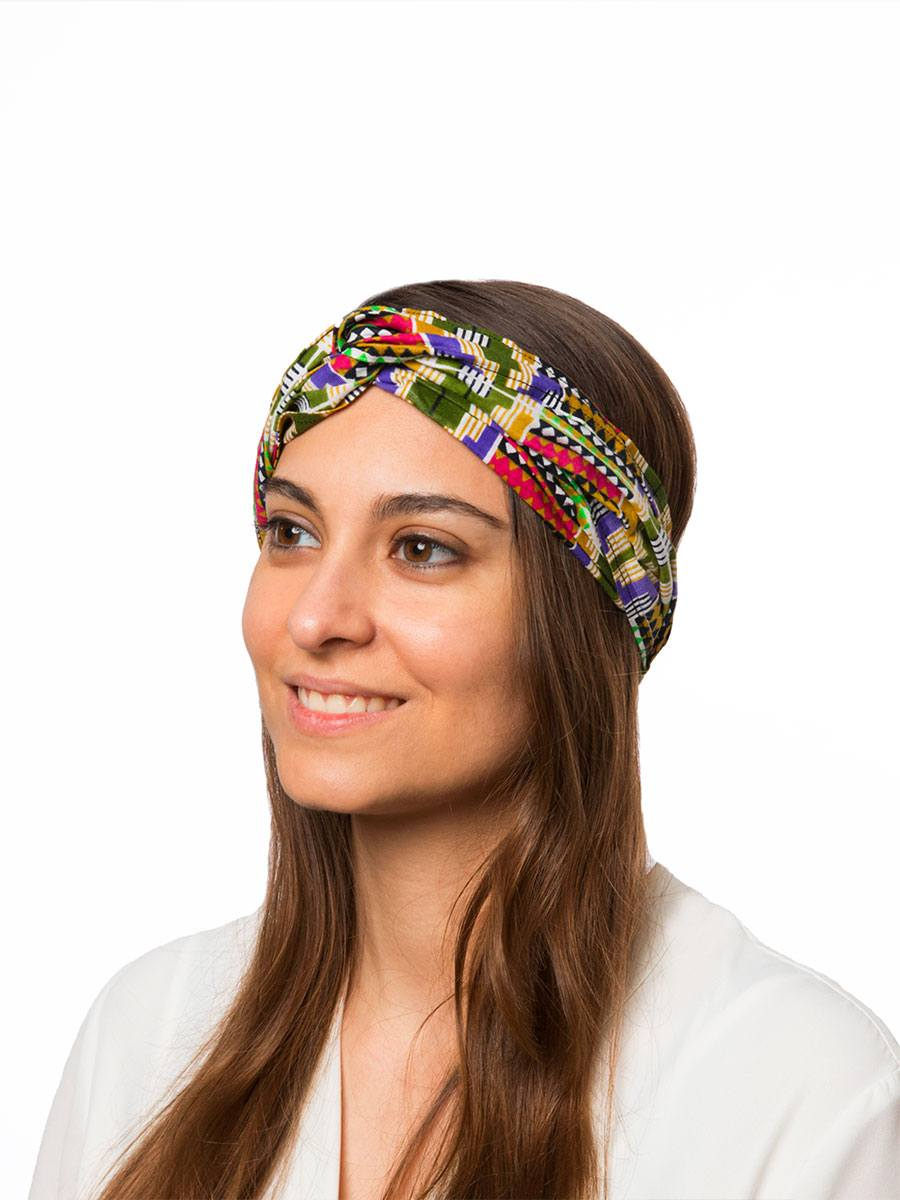 Bandana diadema cinta pelo tela africana wax handmade estampada beix lila verde ukat