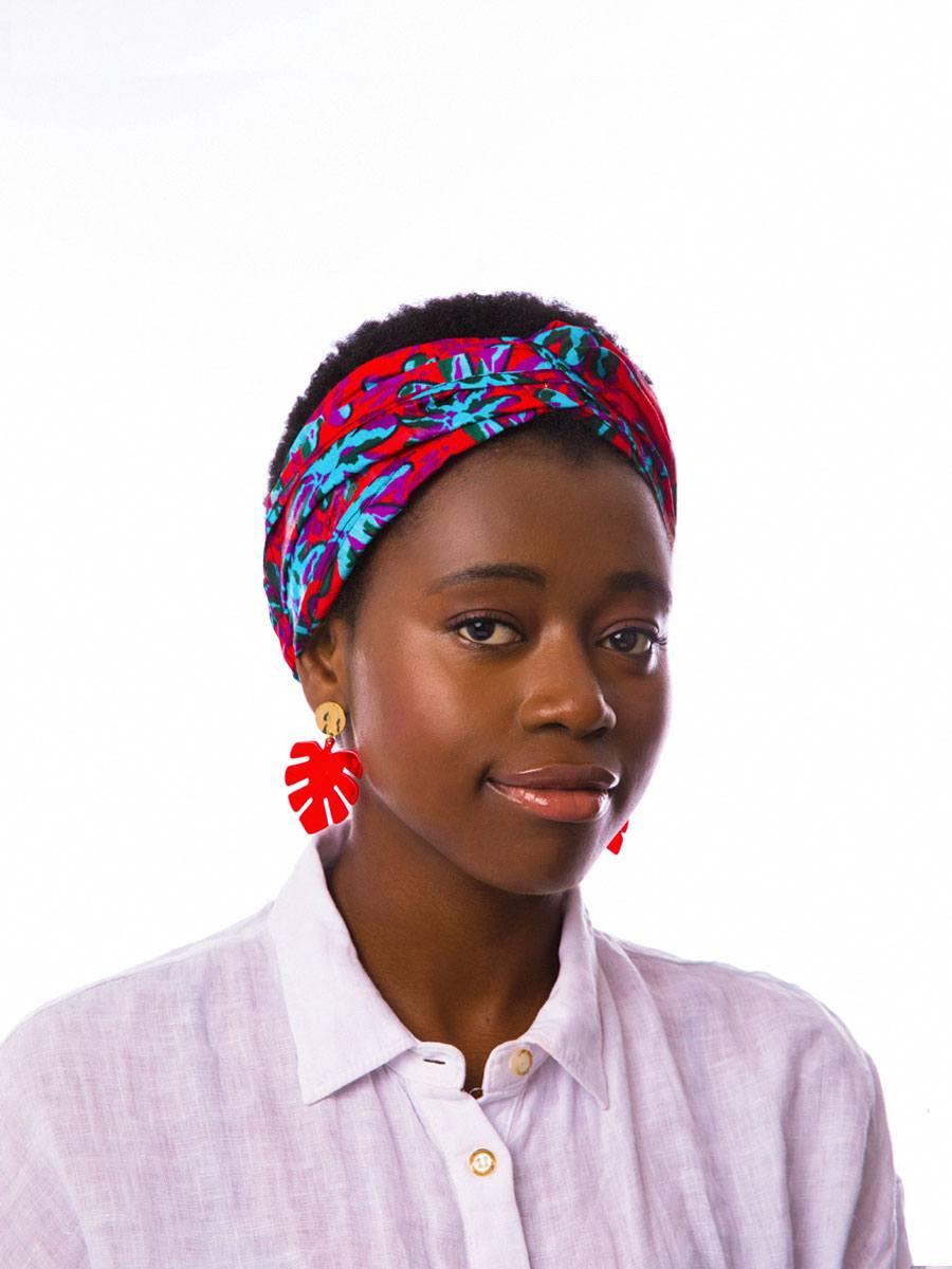 Bandana diadema cinta pelo tela africana wax handmade estampada coral azul claro ukat