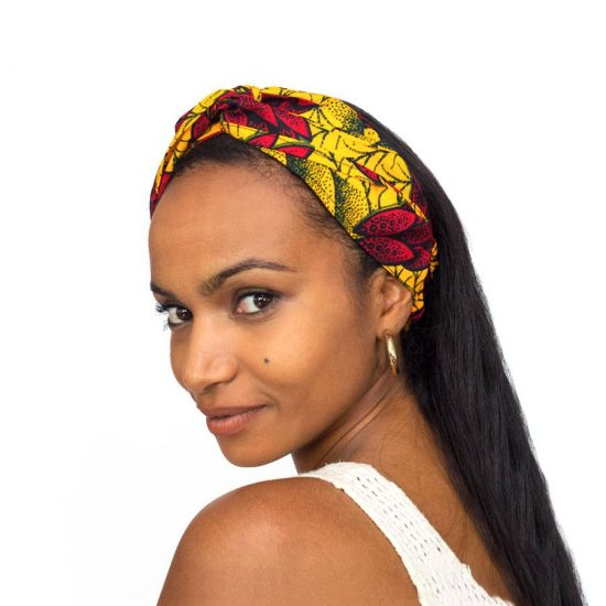 Bandana diadema cinta pelo tela africana wax handmade estampada flores rojas ukat