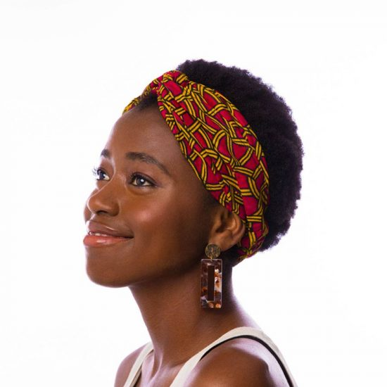 Bandana diadema cinta pelo tela africana wax handmade estampada fucsia amarilla ukat
