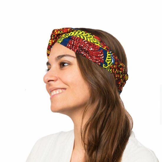 Bandana diadema cinta pelo tela africana wax handmade estampada granate variada ukat  1