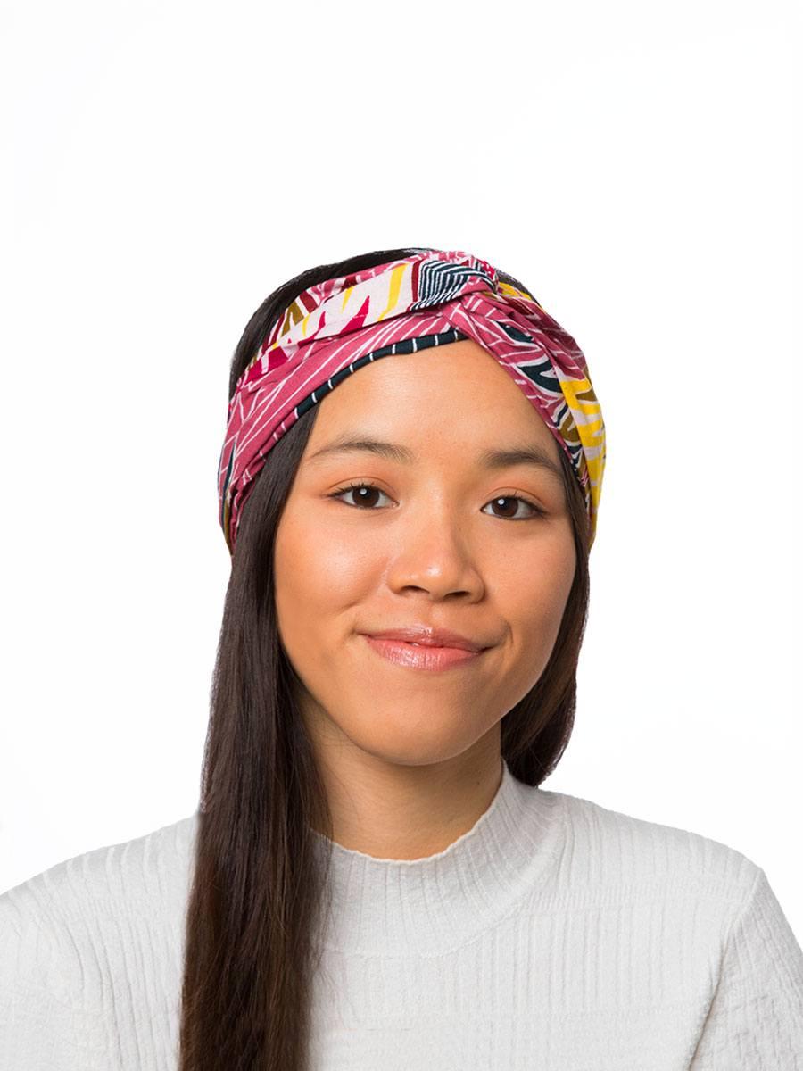 Bandana diadema cinta pelo tela africana wax handmade estampada intensa naranja rosa ukat