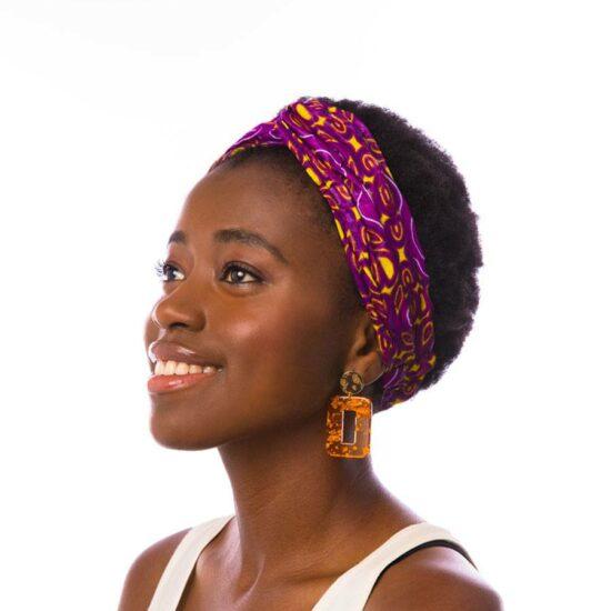 Bandana diadema cinta pelo tela africana wax handmade estampada lila amarilla ukat.