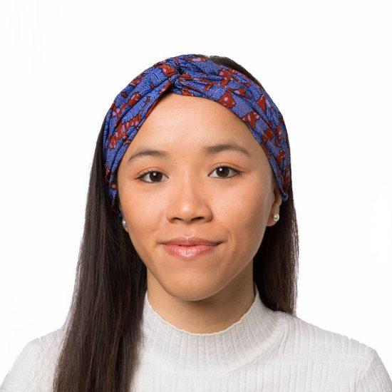 Bandana diadema cinta pelo tela africana wax handmade estampada lila claro ukat