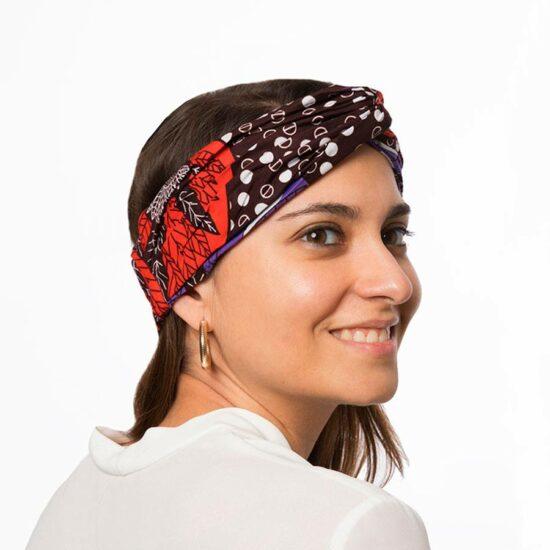 Bandana diadema cinta pelo tela africana wax handmade estampada lila magenta ukat