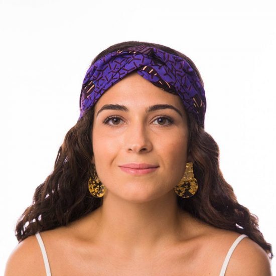 Bandana diadema cinta pelo tela africana wax handmade estampada lila ukat