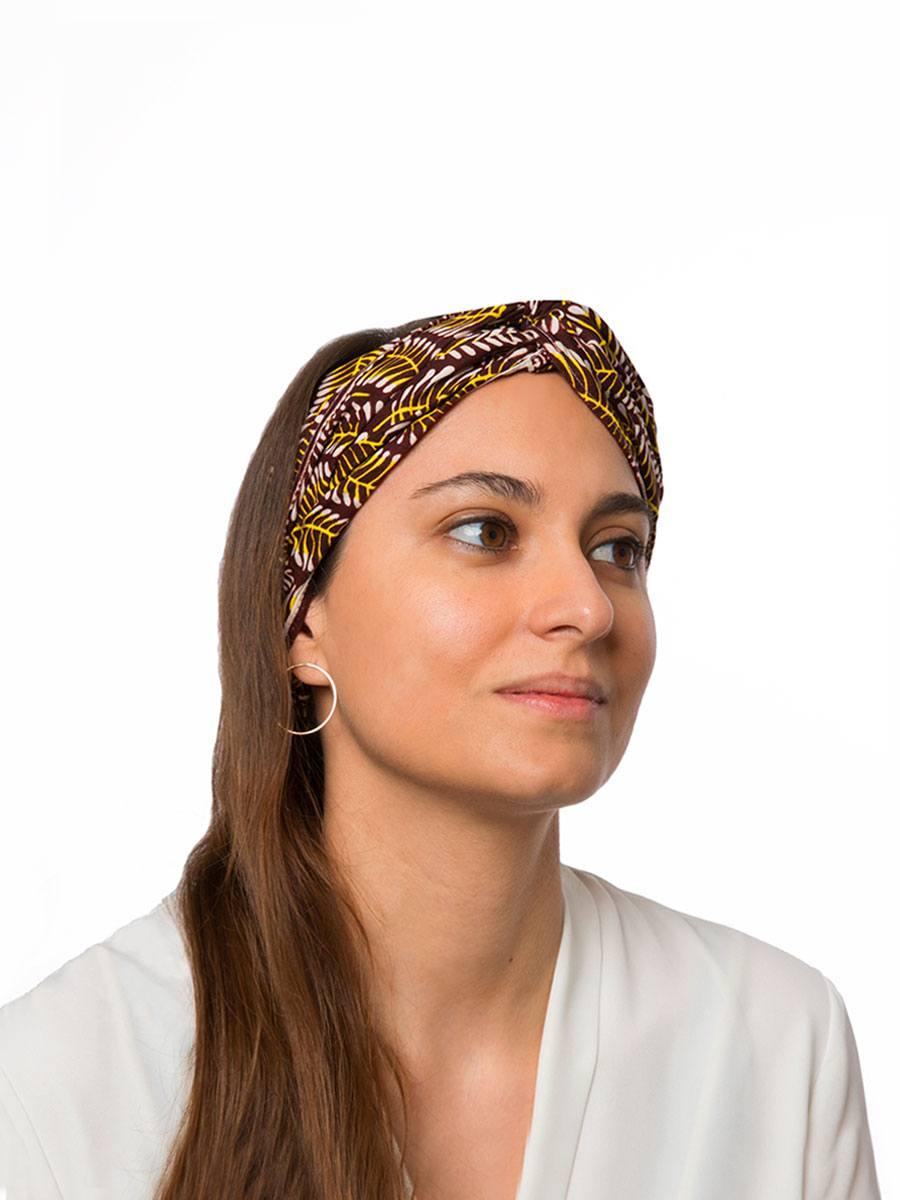 Bandana diadema cinta pelo tela africana wax handmade estampada marron amarilla ukat